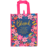 Renewing Faith, Psalm 9:1 Blessed Tote Bag, Navy and Pink, 12 x 10 x 4 inches
