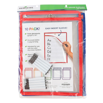 Renewing Minds, Dry-Erase Sleeve, Reusable, 9 x 12 Inches, Primary Colors Trim, 10 Each, Grades K-12