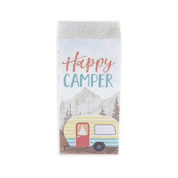 P. Graham Dunn, Happy Camper Wood Block, Pine Wood, 3 1/2 x 1 3/4 inches