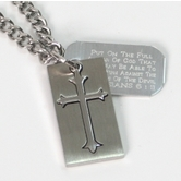 Spirit & Truth, Ephesians 6:11 Shield Cross and Tag Necklace, Stainless Steel, 20 inches