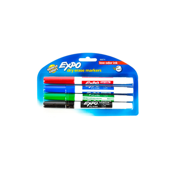 Expo, Low-Odor Dry Erase Markers, Fine Point, 4-Pack, Assorted Colors