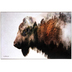 Buffalo with Landscape Collage Wall Decor, MDF, Brown, 16 x 23 3/4 x 1 1/2 inches