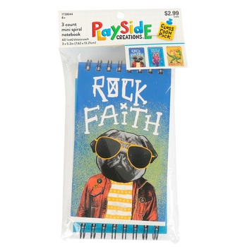 Playside Creations, Christian Pop Art Mini Spiral Notebooks, 3 x 5 inches, 1 Each of 3 Designs