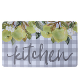 Green Apples Kitchen Doormat, Polyester and Rubber, Gray and White, 18 x 30 inches
