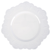 White Doily Plate Charger, Plastic, 13 inches