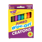 TREND enterprises, Inc., Wipe-Off Jumbo Crayons, Assorted Colors, Pack of 8