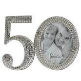 Roman Inc, 50th Anniversary Rhinestone Frame, for 2 1/2 x 2 1/2 inch photos
