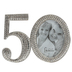 Roman Inc, 50th Anniversary Rhinestone Frame, for 2 1/2 x 2 1/2 inch photos