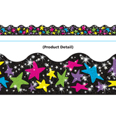 Trend, Scalloped Sparkle Border Trim, 32 Feet, Stars