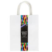 Medium Kraft Bags, White, 4 x 8 x 10 Inches, 5 Count