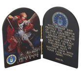 Nelson Fine Art & Gifts, Air Force St. Michael II Arched Diptych, Tabletop Plaque, Hinged Wood, 4 x 6 x .50 Inches