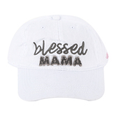 Pavilion Gift, Blessed Mama Baseball Cap, Cotton, White, One Size Fits Most
