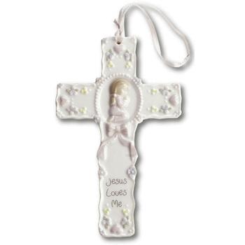 Girl Praying With Pink Ribbon Cross