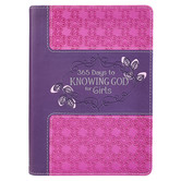 365 Days to Knowing God for Girls, by Carolyn Larsen, Leatherlike, Pink and Purple