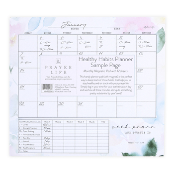 Legacy Publishing Group, Psalm 34:14 Seek Peace Healthy Habits Magnetic Planner, 9 3/8 x 8 3/8 inches, 12 Sheets