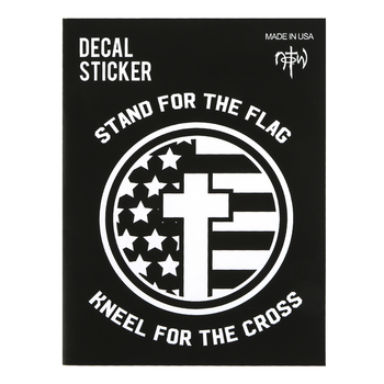 NOTW, Stand For The Flag Kneel For The Cross Window Decal, White, 5 x 5 inches
