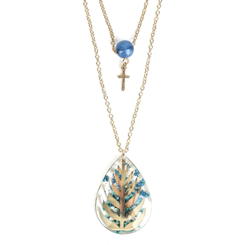Faith in Bloom, Double Strand Teardrop Pendant Necklace, Iron, Gold, 20 and 24 Inch Chains