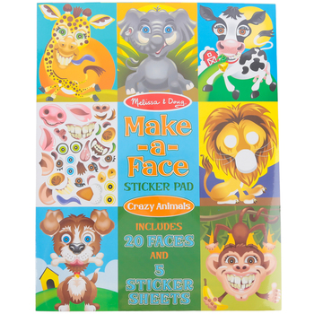 Melissa & Doug, Make-A-Face Sticker Pad, Crazy Animals, 17 x 11 Inches, Ages 4 and up