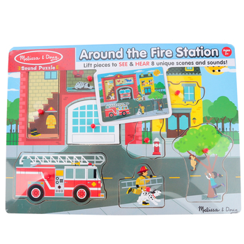 Melissa & Doug, Around the Fire Station Sound Puzzle, 8 Pieces, Ages 2 to 4