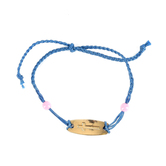 Faith Spark, Braided Cross Tag Slide Bracelet, Zinc Alloy and Polyester and Plastic, Gold and Blue, 7 Inches
