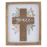 Mardel, Floral Grace Cross Wood Wall Decor, Natural Wood and White Distress, 12-1/2 x 10-1/4 x 1 Inch