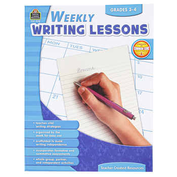 Teacher Created Resources, Weekly Writing Lessons, Reproducible Paperback, 112 Pages, Grades 3-4