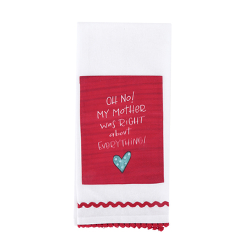 Brownlow Gifts, My Mother Was Right About Everything Tea Towel, Cotton, Red & White, 18 x 28 inches