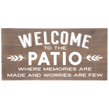 Welcome To The Patio Wall Decor, MDF, Brown, 11 3/4 x 23 5/8 x 3/4 inches