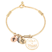 Oori Trading, Be Blessed Bangle Bracelet with Four Charms, Gold Plated, 1 Piece