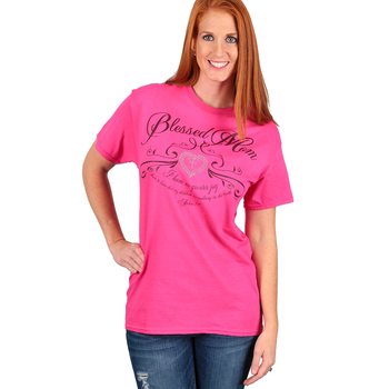 Red Letter 9, Blessed Mom, Women's Short Sleeve T-Shirt, Hot Pink, S-2XL