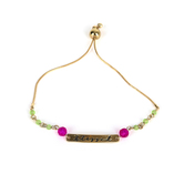 By His Grace, Blessed ID Bracelet with Beads, Zinc Alloy, Gold