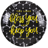 Renewing Faith, Faith & Fellowship Numbers 6:24 Paper Plates, Large, Black Dots, 10 1/2 Inches, Pack of 20