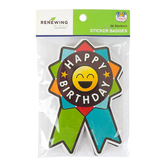 Pop Mania Collection, Happy Birthday Emoji Sticker Badges, 3.50 x 5 Inches, Pack of 36