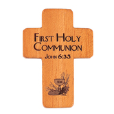 H.J. Sherman, First Communion Pocket Cross, Wood, Mahogany, 1 1/4 x 1 3/4 inches