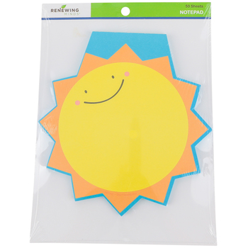 Renewing Minds, Sun Shaped Notepad, 6-1/2 x 6-1/4 Inches, Yellow, Orange and Blue, 50 Sheets