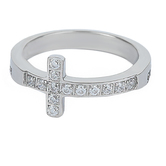 Spirit & Truth, John 15:13, No Greater Love Sideway Cross, Women's Ring, Stainless Steel, Sizes 5-9