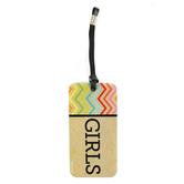 TooCute Collection,  Girls Hall Pass, 3 x 6 Inches, Craft-tan and Black with Multi-Colored Chevron