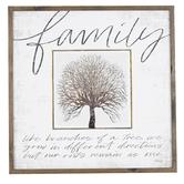 Family Tree Framed Wall Decor, MDF, 24 x 24 x 1 Inches