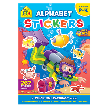 School Zone, Alphabet Stickers Activity Workbook, A Stuck On Learning Book, 64 Pages, Preschool-Grade 1