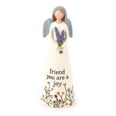 Blossom Bucket, Friend You Are A Joy Angel Figurine, Resin, Cream, 5 x 1 3/4 inches