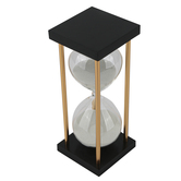 Black and Gold Art Deco Hourglass, 3 x 7.50 Inches
