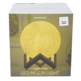 Merkury Innovations, Light Up LED Moon Light on Wood Stand, Dual Modes, 5.75 x 5.75 x 8 Inches