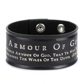 Spirit & Truth, Ephesians 6:11, Armour Of God, Men's Leather Cuff Bracelet, Black, 3 x 9 1/2 Inches