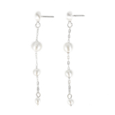 His Truly, Beaded Dangle Earrings, Zinc Alloy, Brushed Silver