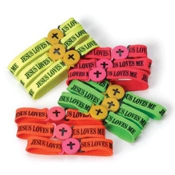 Fun Express, Jesus Loves Me Bracelets, Assorted Colors, Bag of 12