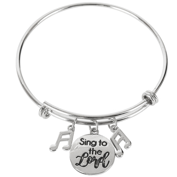 Modern Grace, Psalm 13:6 Sing to the Lord Wire Wrap Charm Bracelet, Zinc Alloy and Iron, Silver