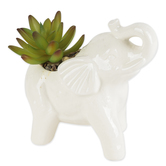 Elephant Pot with Artificial Succulent Plant, Ceramic, White & Green, 3 x 6 1/2 x 5 1/2 inches