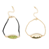 Faith in Bloom, Firmly Planted and Leaf Bracelet Set, Zinc Alloy and Leather, Gold, 2 Pieces