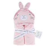 Stephen Joseph, Bunny Hooded Bath Towel for Babies, Cotton, Pink, 29 x 29 inches