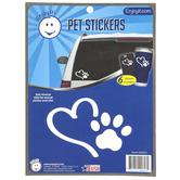 Enjoy It LLC, Heart and Paw Pet Stickers, Vinyl, White